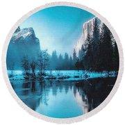 Blue Winter Fantasy. L B Round Beach Towel