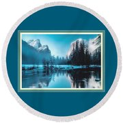 Blue Winter Fantasy. L B With Decorative Ornate Printed Frame. Round Beach Towel