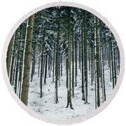 Blue Winter Forest Round Beach Towel