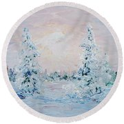 Blue Winter Round Beach Towel