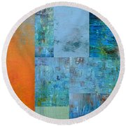 Blue With Orange 2.0 Round Beach Towel