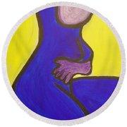Blue Woman Round Beach Towel