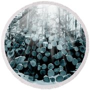 Blue  Wood Round Beach Towel