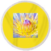 Blue Yellow Lily  Round Beach Towel