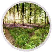Bluebell Woods With Birds Flocking  Round Beach Towel