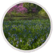 Bluebells And Redbuds Round Beach Towel