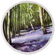Bluebells At Grimescar Wood Round Beach Towel