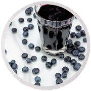 Blueberries And Blueberry Juice Round Beach Towel