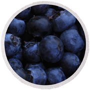 Blueberries Close-up - Horizontal Round Beach Towel