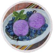 Blueberry Ice Cream Party Round Beach Towel