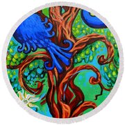 Bluebird In Tree Round Beach Towel