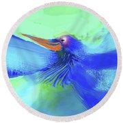 Bluebird Of Happiness Round Beach Towel