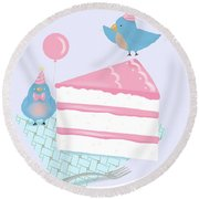 Bluebirds Love Birthday Cake Round Beach Towel