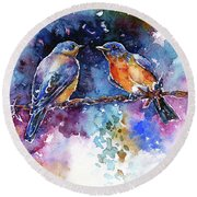 Bluebirds Round Beach Towel