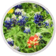 Bluebonnet Bouquet Round Beach Towel