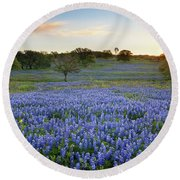 Bluebonnet Sunrise And A Windmill In Texas 1 Round Beach Towel