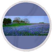 Bluebonnet Vista - Texas Bluebonnet Wildflowers Landscape Flowers  Round Beach Towel
