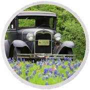Bluebonnets And Fords Round Beach Towel