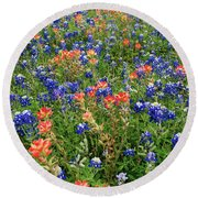 Bluebonnets And Paintbrushes 3 - Texas Round Beach Towel