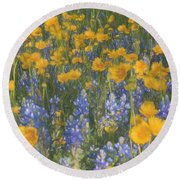 Bluebonnets And Wildflowers Round Beach Towel