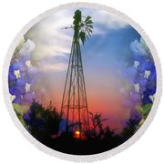 Bluebonnets And Windmill Round Beach Towel