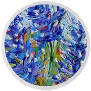 Bluebonnets Of Texas Round Beach Towel