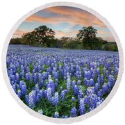 Bluebonnets On A Spring Evening 403-1 Round Beach Towel