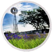 Bluebonnets With Windmill Round Beach Towel