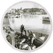 Bluefin Tuna At Barnstable Harbor Round Beach Towel
