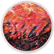 Bluegrass Sunrise - Crimson B-right Round Beach Towel
