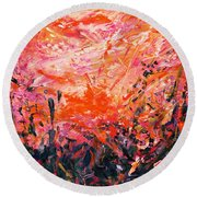 Bluegrass Sunrise - Crimson A-left Round Beach Towel