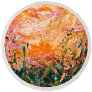 Bluegrass Sunrise - Desert A-left Round Beach Towel