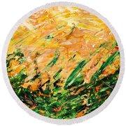 Bluegrass Sunrise - Lemon B-right Round Beach Towel