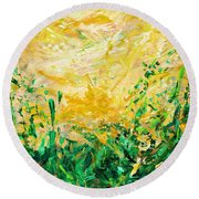 Bluegrass Sunrise - Olive A-left Round Beach Towel