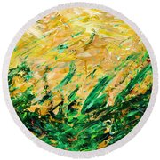 Bluegrass Sunrise - Olive B-right Round Beach Towel