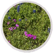 Blues And Pinks Round Beach Towel