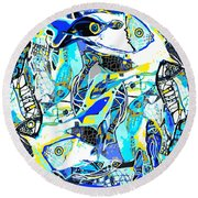 Blues Fishes Round Beach Towel