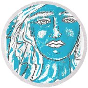 Blues Girl Round Beach Towel