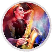 Blues Saxophonist Round Beach Towel