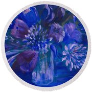 Blues To Brighten Your Day Round Beach Towel