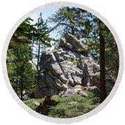 Bluff Lake Ca Boulders 1 Round Beach Towel