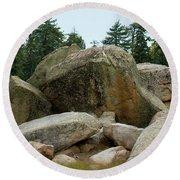 Bluff Lake Ca Boulders 3 Round Beach Towel