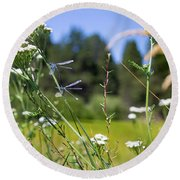 Bluff Lake Wild Flowers 2 Round Beach Towel