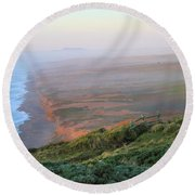 Bluffs And South Beach Point Reyes Round Beach Towel