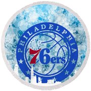 bluish backgroud for Philadelphia basket Round Beach Towel
