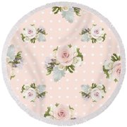 Blush Pink Floral Rose Cluster W Dot Bedding Home Decor Art Round Beach Towel