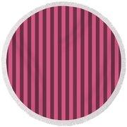 Blush Pink Striped Pattern Design Round Beach Towel