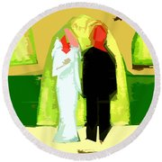 Blushing Bride And Groom 2 Round Beach Towel
