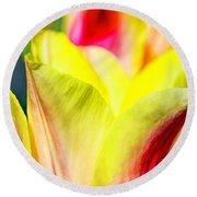 Blushing Lady Tulips Round Beach Towel