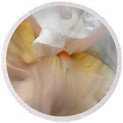 Blushing Peach Iris Flower Round Beach Towel